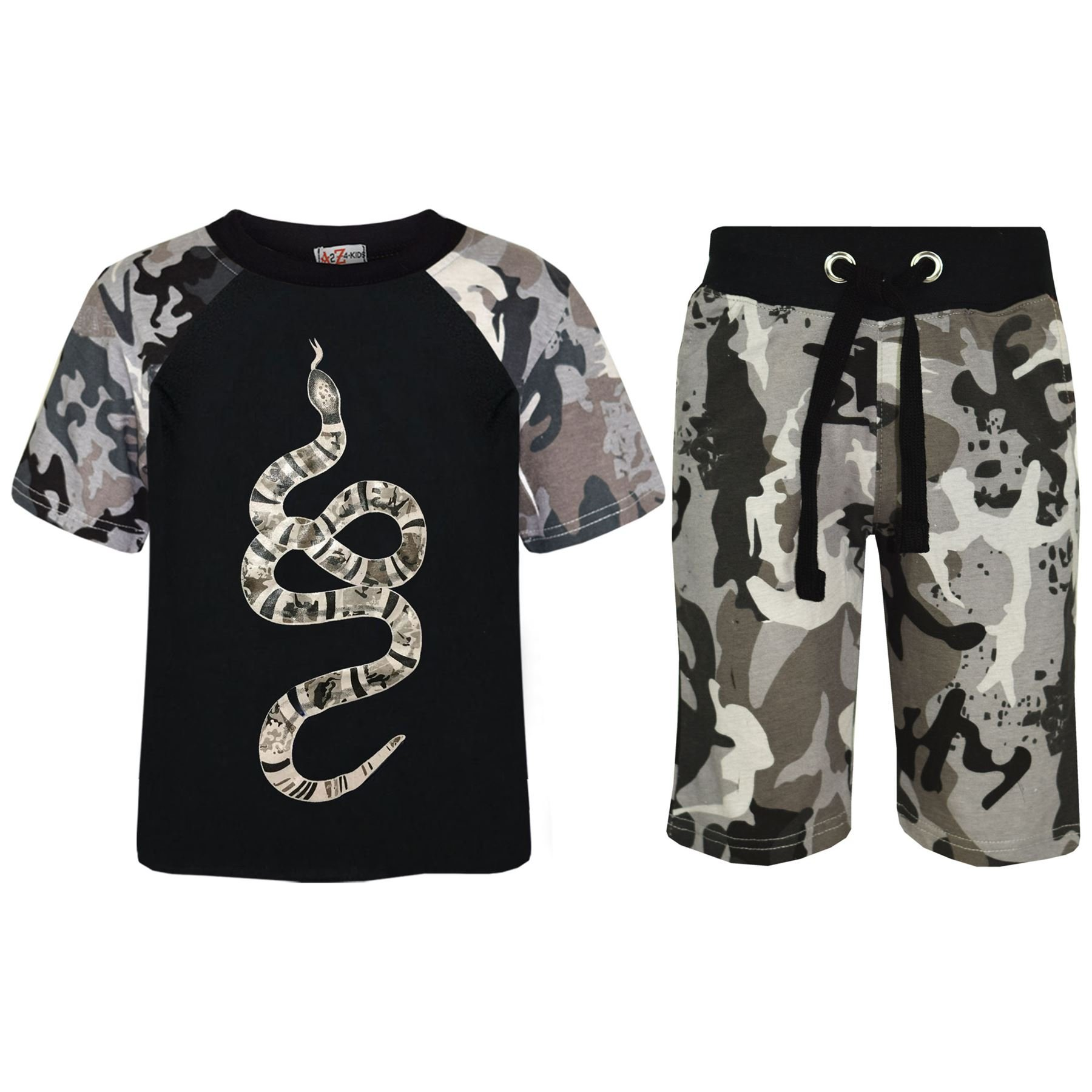 Kids Boys T Shirts Shorts Designer 100% Cotton Snake Print Top Short Set 5-13 Yr