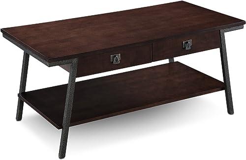 Leick Empiria Modern Industrial Two Drawer Coffee Table – Walnut