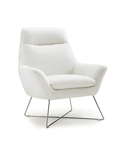 Amazon.com   HomeRoots Furniture Chair White Top Grain Italian Leather  Stainless Steel Legs. (320704)   Chairs