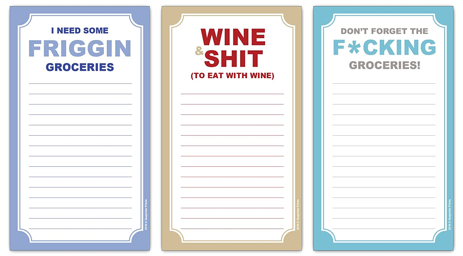 Funny Magnetic Grocery Lists - Wine, Shit, Friggin, Fcking Gag Gift -(3-Pack)
