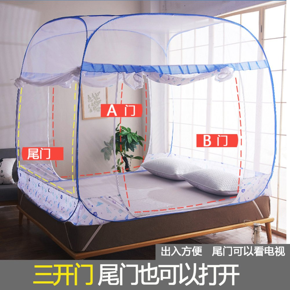 Folding mosquito net castle tent, Double sided home zipper bed canopy for kids-A Queen1