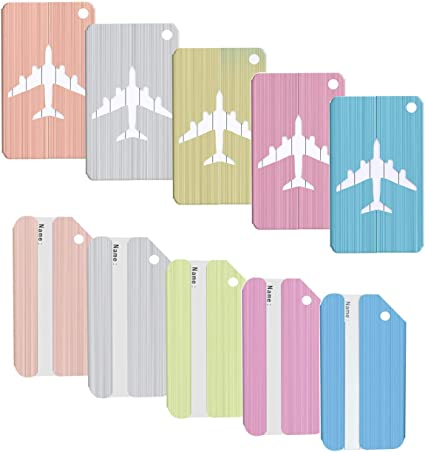 Emango 9 Packs Luggage Bag Suitcase Tag Labels Luggage Travel Tags 9 colors
