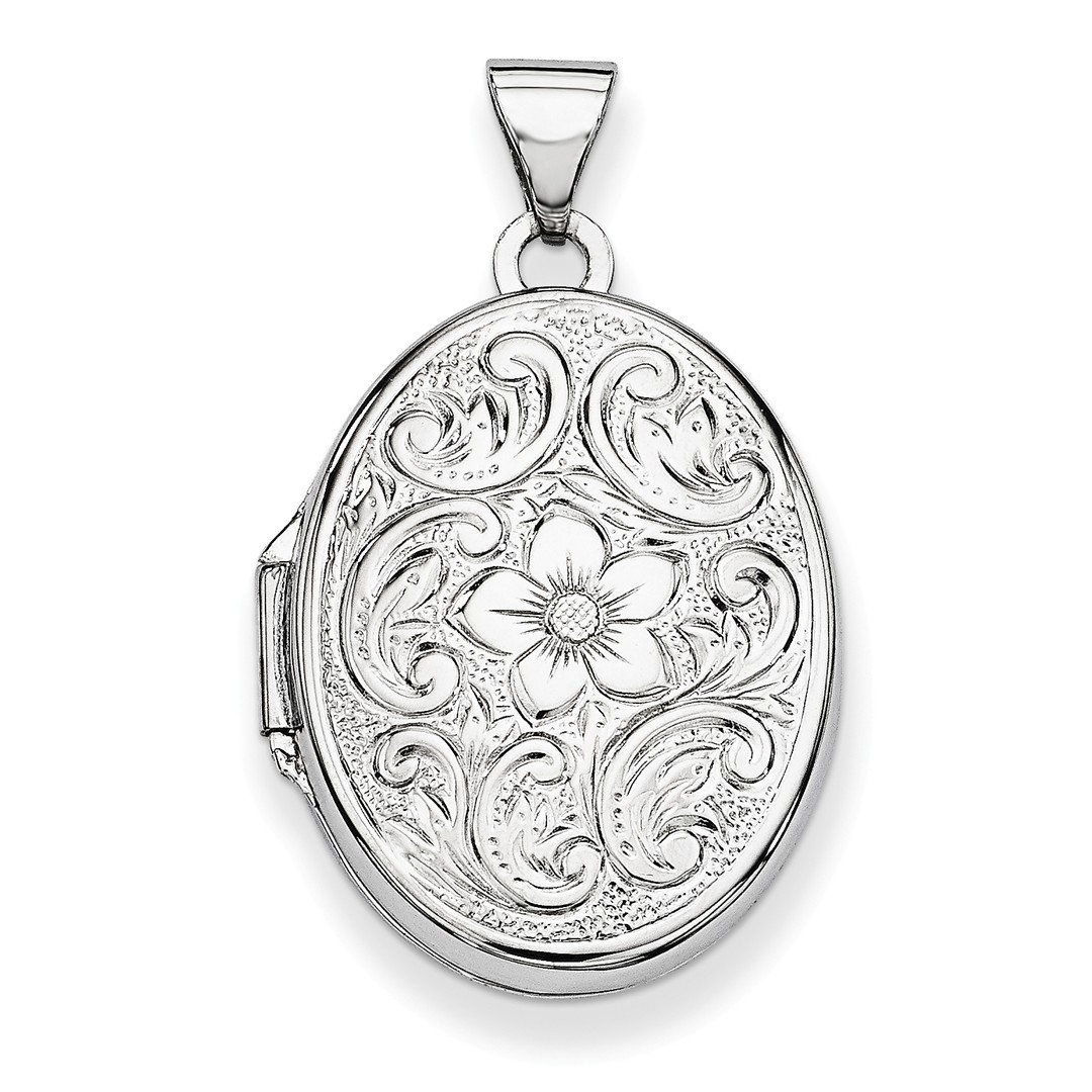 ICE CARATS 14k White Gold 21mm Oval Floral Scroll Border Photo Pendant Charm Locket Chain Necklace That Holds Pictures Fine Jewelry Gift Set For Women Heart