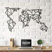 Hoagard Metal Mappa del Mondo Nero XXL | 113cm x 200cm | Geometric Metal Wall Art & Decorazione da Parete per Natale