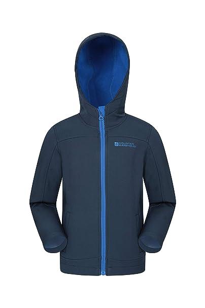 Mountain Warehouse Exodus Kids Softshell Jacket Wind Resistant Shell
