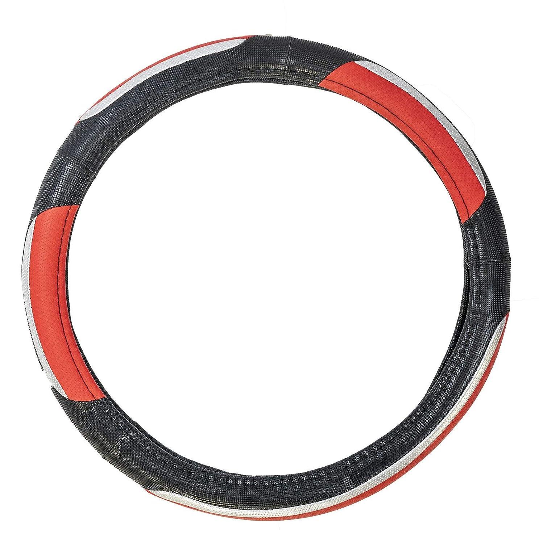 UKB4C Luxury Steering Wheel Cover Black Red /& Chrome 37-39cm Diameter Universal Fit Protection