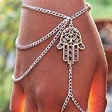 HuntGold 1 x Silber Quasten Armband Palm Finger Ring Handhandgelenk Kette für Mode Dame Frauen Geschenk