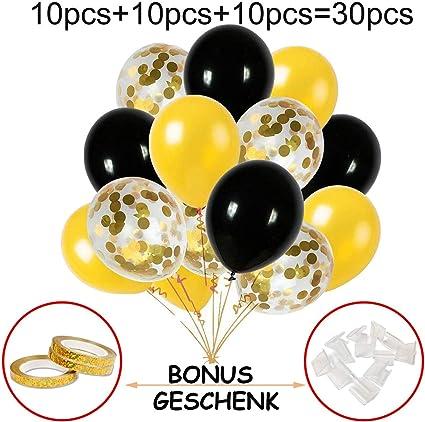 Hook Luftballons Gold Schwarz Ballons Konfetti Gold Luftballon Ballon Für Silvester Deko Party Hochzeit Geburtstag Dekoration 30 Stück