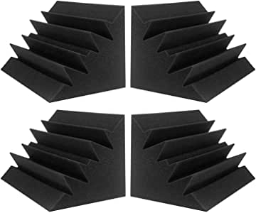"""JBER 4 Pack Acoustic Foam Bass Trap Studio Foam 12"""" X 7"""" X 7"""" Soundproof Padding Wall Panels Corner Block Finish for Studios Home and Theater"""