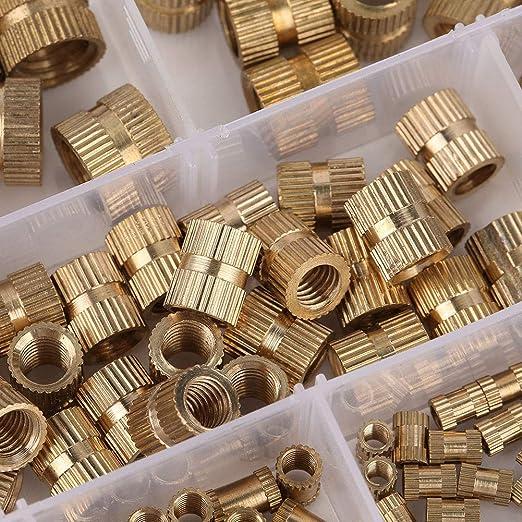 tuercas redondas roscadas estriadas moleteadas del cilindro de cobre amarillo 210pcs integraron nueces integradas Tuerca embebida