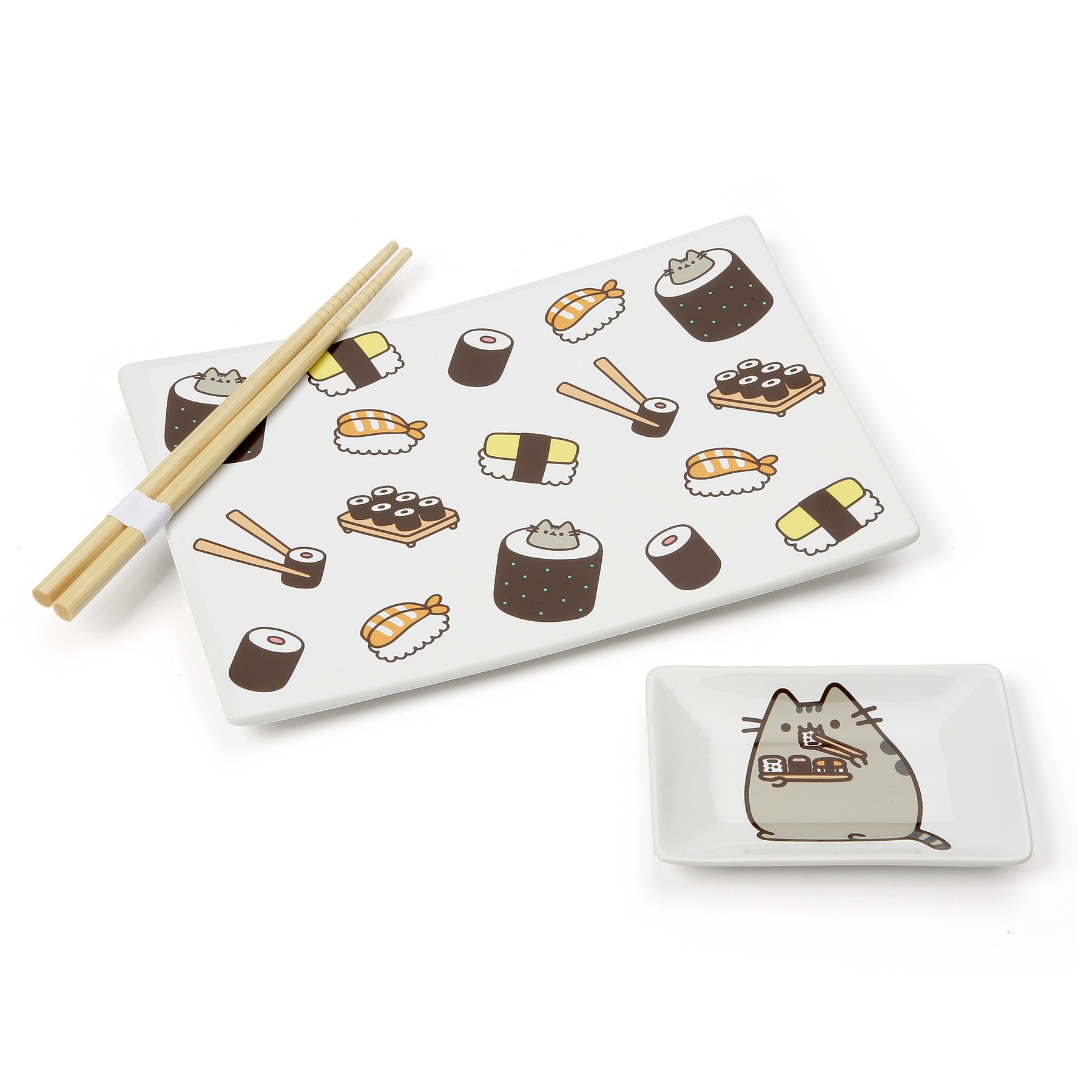 Pusheen by Our Name is Mud Stoneware Sushi Tray and Soy Dish with Chopsticks, 3 Pieces, White