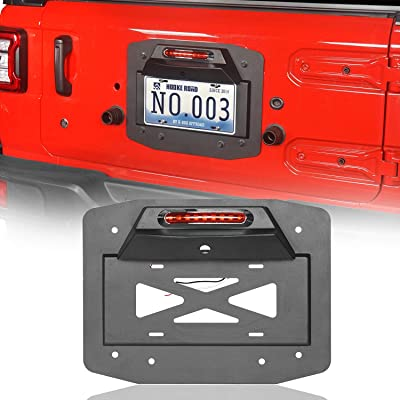 Hooke Road Spare Tire Delete Rear Tailgate License Plate Relocation w/Illuminate Light & Third Brake Light (2020 2020 2020 Jeep JL Wrangler): Automotive