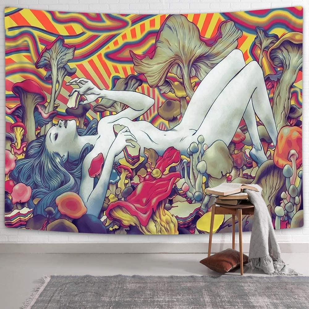 NYMB Psychedelic Tapestry, Abstract Naked Girl Lying on Trippy Mushroom Wall Tapestry, Psychedelic Mushroom Tapestry Wall Hanging for Bedroom Living Room Dorm Apartment Home Decor (60.1''W by 40''L)