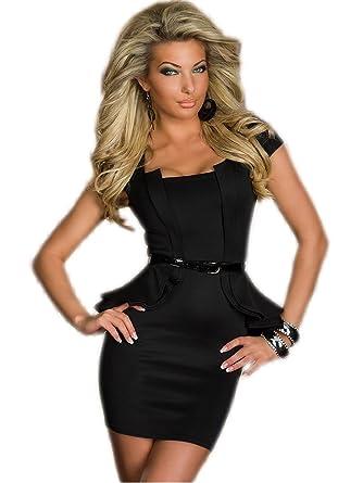 Sexy Schößchen Minikleid Abendkleid Cocktailkleid Business Kleid ...