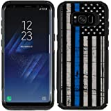 Protective Designer Vinyl Skin Decals / Stickers for OtterBox Commuter Samsung Galaxy S8 Plus Case -Thin Blue Line USA Police Flag Design Patterns - Only SKINS and NOT Case - by [TeleSkins]