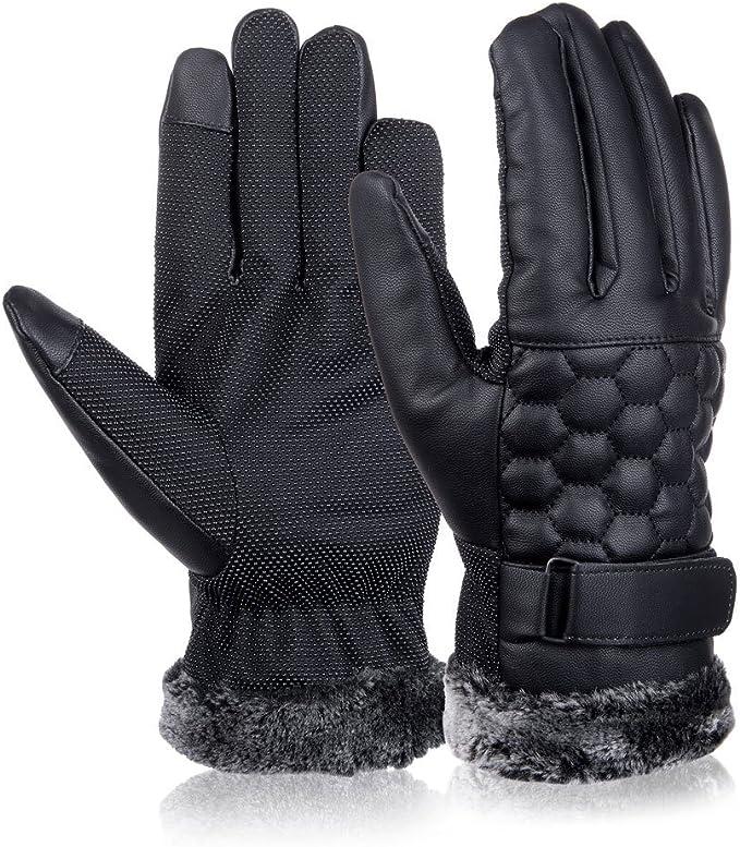Nero VBIGER Guanti Uomo Pelle Guanti Touchscreen Guanti Moto Guanti Invernali per Outdoor Sports
