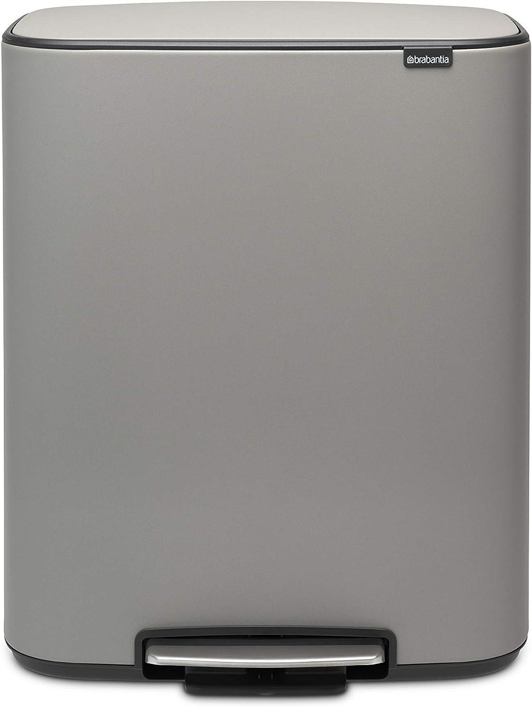 2x30L Acero Brabantia Bo Cubo de Basura con Pedal Platinum