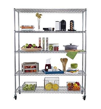 Wonderful Metal Storage Racks Shelves Organization Home Garage Bread Rack Wine Storage  Wheels 60x24x72 New