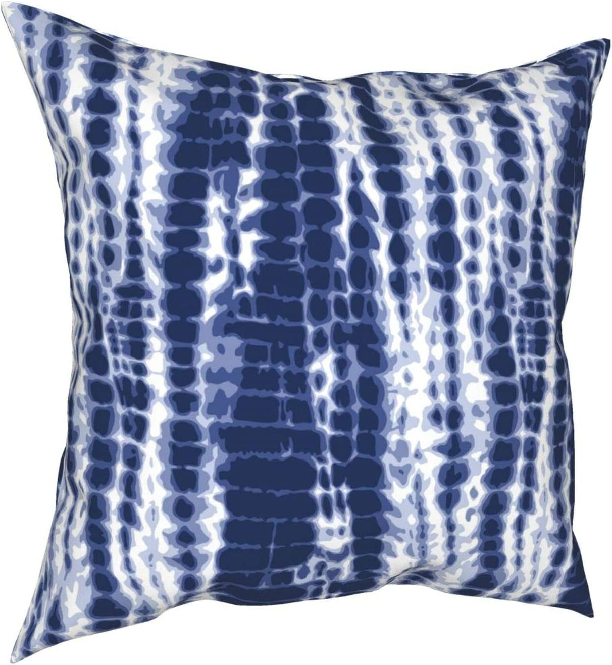 L LULUJAY Indigo Tie Dye Pillow Case,Blue Tie Dye Striped Pattern Navy Decor Design Throw Cushion Cover for Couch Sofa Kitchen Bedroom Living Room 12x12 Inches