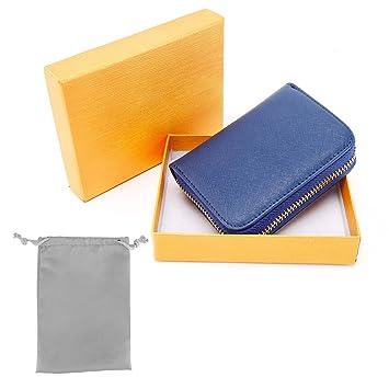 6c32e10bb RFID Crédito Tarjetero, Monedero Multifuncional de con Cremallera para  Mujer Hombre, Caja de Regalo (Azul Oscuro): Amazon.es: Equipaje