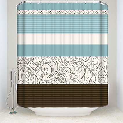 Crystal Emotion Stripe Shower Curtain FabricFloral Flower Blue Brown Grey Extra Long 72x84inch