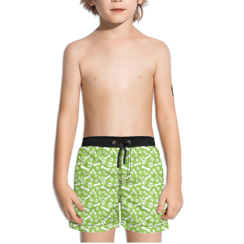 Trum Namii Boys Quick Dry Swim Trunks Dog Paw Green Background Shorts
