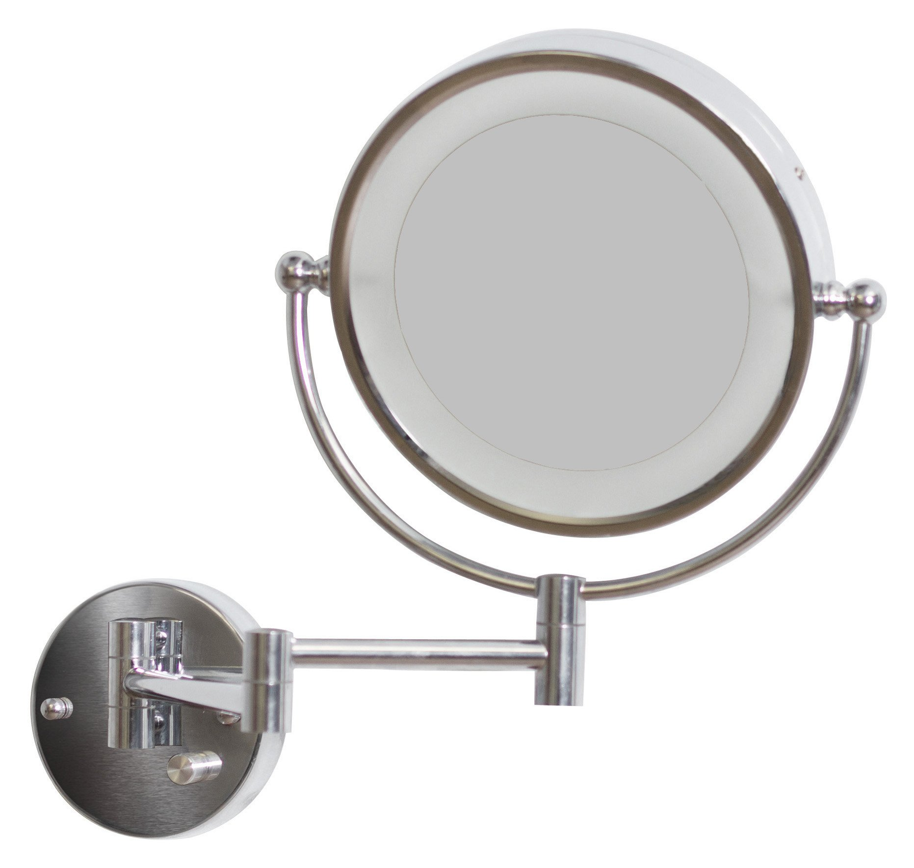 American Imaginations AI-557 8.5-in. W Round LED Mirror With Light Dimmer And Dual 1x/5x Zoom by American Imaginations