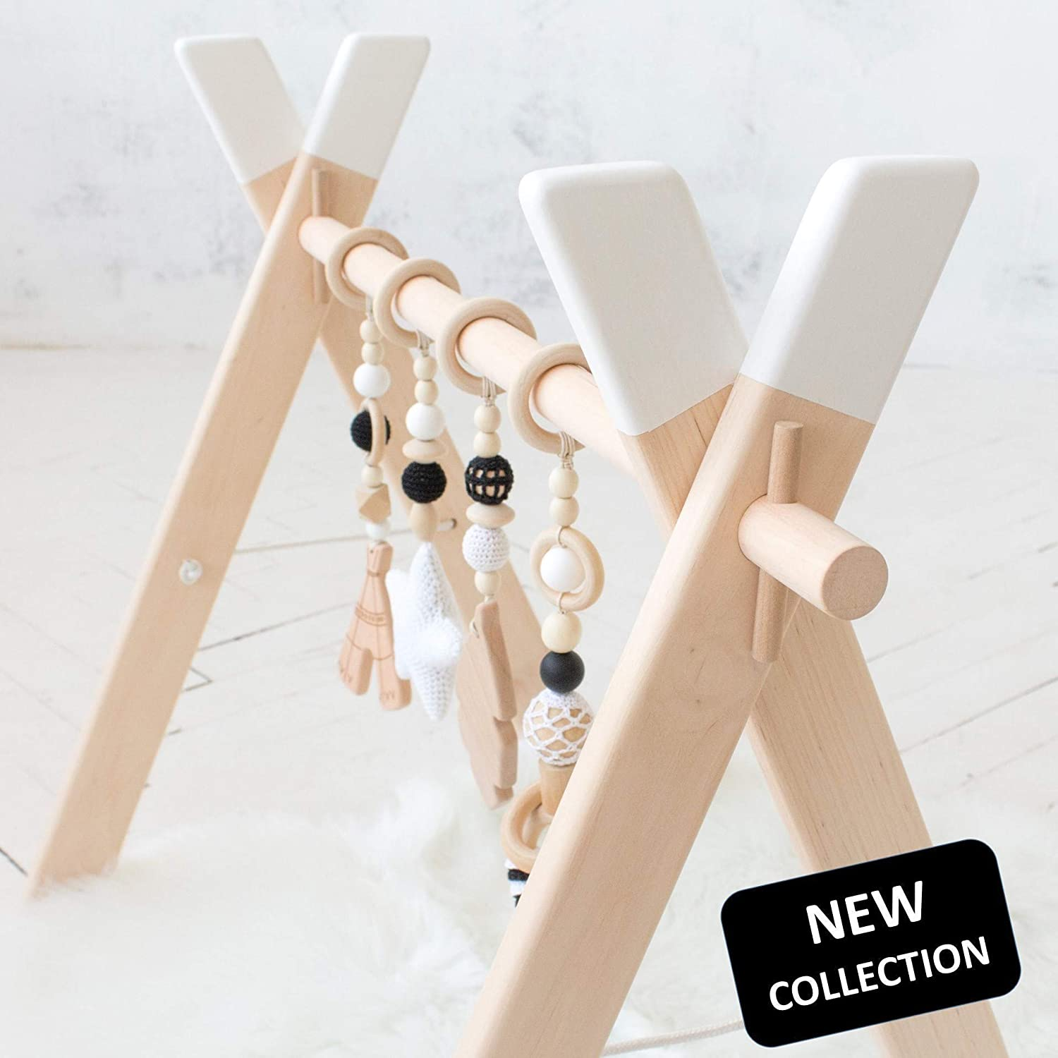 Scandinavian nursery inspired white Wood baby gym frame and activity gym with four mobiles by LanaCrocheting. Foldable Baby Play Gym, Hanging bar, Newborn Gift Baby shower non toxic, natural
