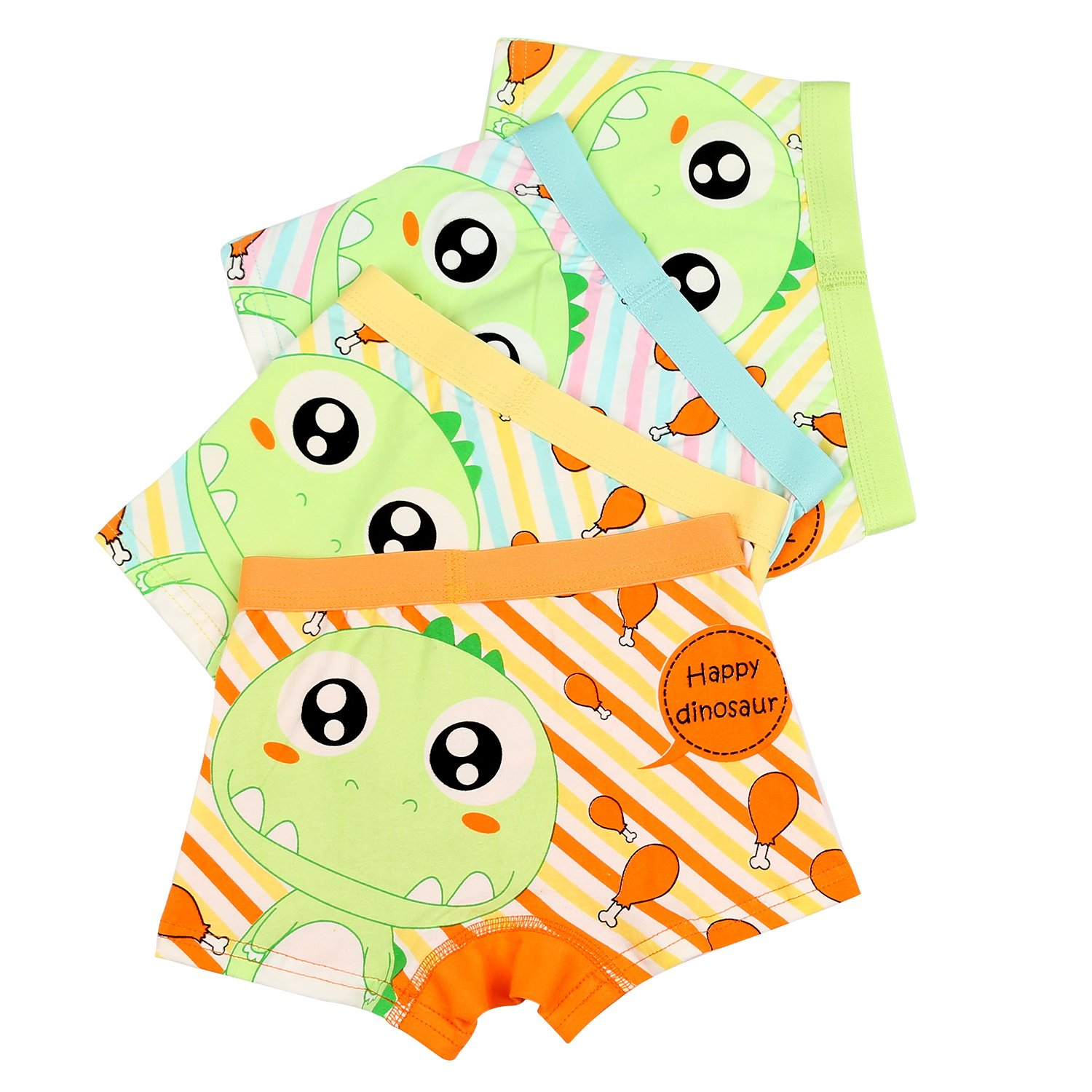 BOOPH Little Boys Underwear, Cotton Dinosaur Baby Toddler Boxer Briefs Underpant for Boy 4-6 Years (Pack of 4)