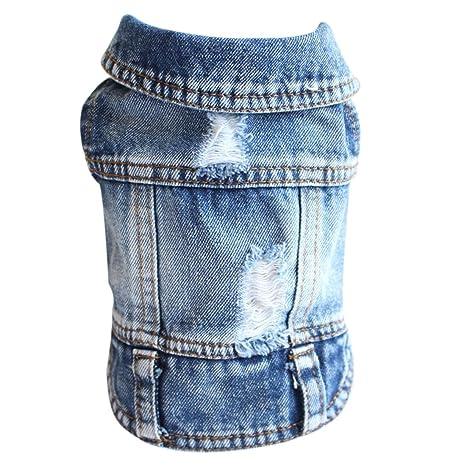 Gnaixeh Pet Ropa Perro Denim Jeans Chándal Chándal Vestidos XS-XXL ...