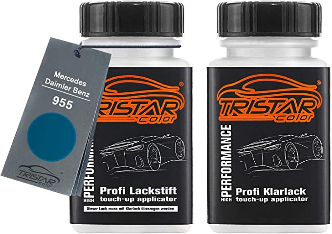 Tristarcolor Autolack Lackstift Set Für Mercedes Daimler Benz 955 Mistralblau Metallic Basislack Klarlack Je 50ml Auto