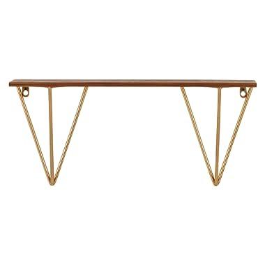 Rivet Modern Wood and Metal Shelf, 9.65 H, Walnut and Gold Finish