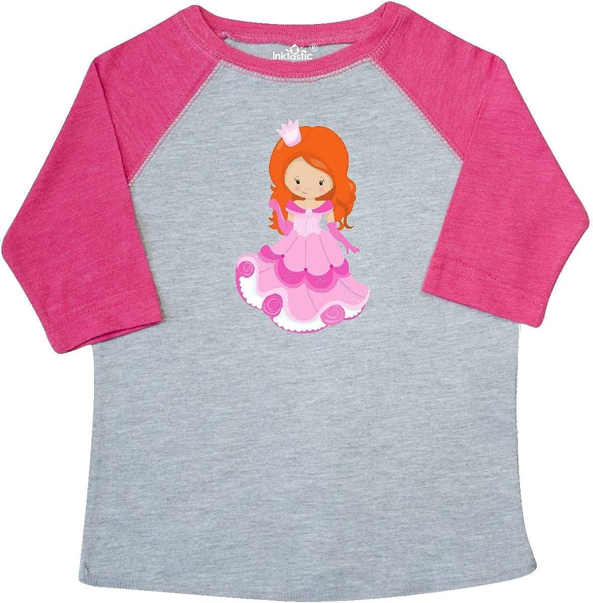 Orange Hair Toddler T-Shirt Princess in Pink Dress inktastic Cute Princess