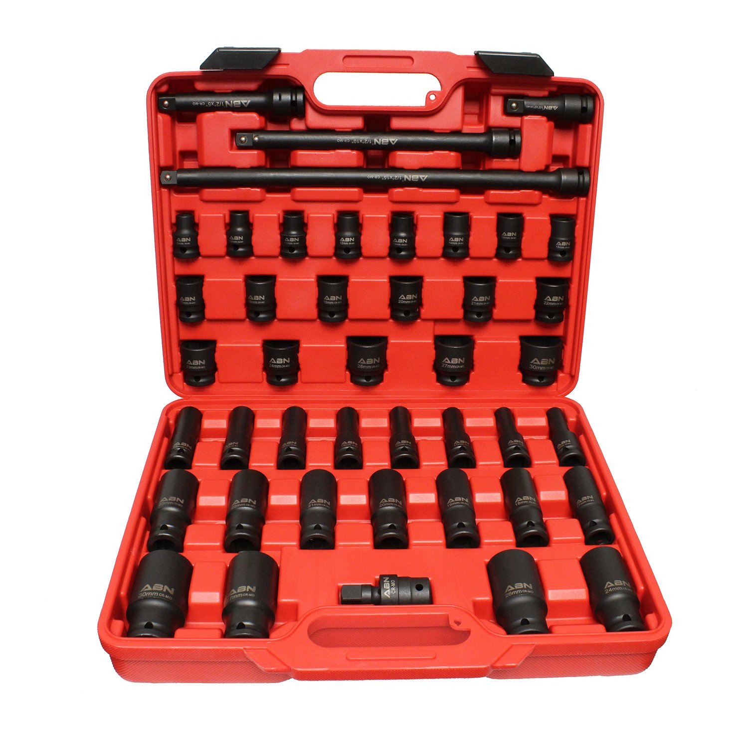 ABN 1/2'' Inch Drive Metric Master Deep & Shallow Impact Socket 43-Piece Set 9mm to 30mm with Extensions & Swivel Joint by ABN (Image #1)