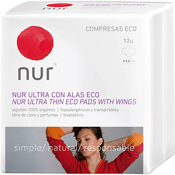 COMPRESA ULTRAFINAS CON ALAS ECOLOGICAS NUR 12 compresas: Amazon ...