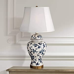 Traditional Table Lamp Crackle Ceramic Blue and White Rose Vine Temple Jar White Bell Shade for Living Room Family - Barnes and Ivy