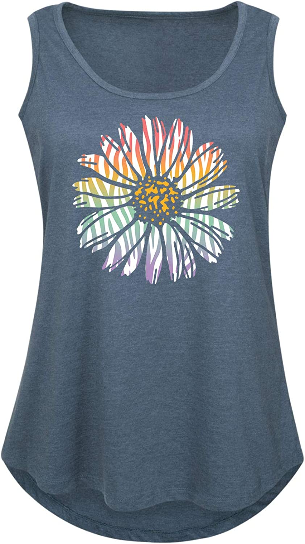 Rainbow Zebra Print Daisy Ladies Plus Size Tank