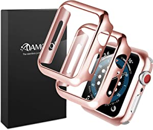AMOVO [2 Pack] Matt Case for Apple Watch Series 6/5/4/SE 40mm Built-in Tempered Glass Screen Protector [3D Full Coverage] [Anti Scratch] Hard PC Protective Case for iWatch (40mm, Matt Rosegold)