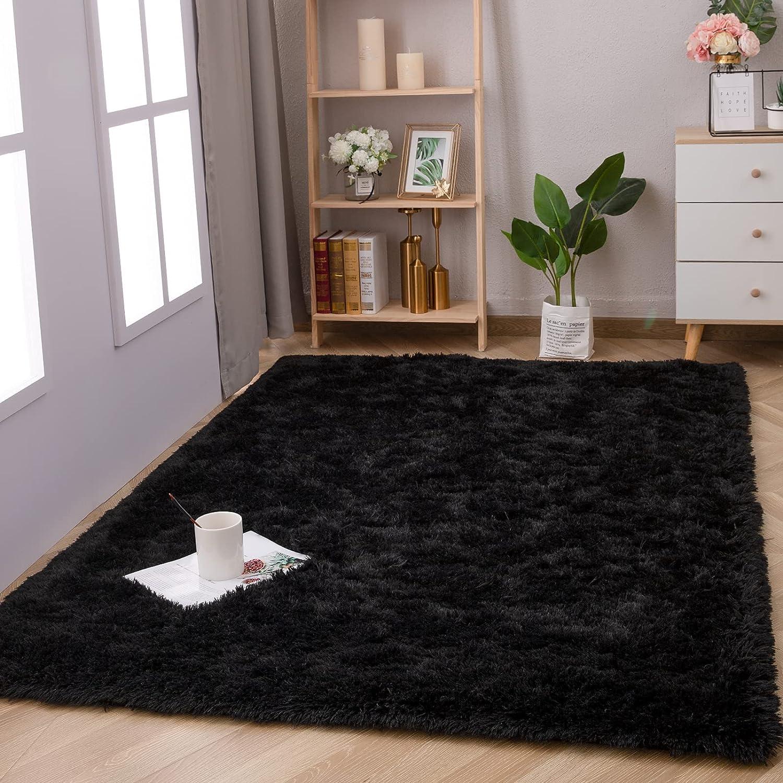 Terrug Super Soft Modern Area Rugs for Bedroom Living Room, Indoor Home Decor Room Carpet, Plush Fluffy Fur Rug for Boys Girls Room Shaggy Comfortable Rug (4X5.9 Feet, Black)