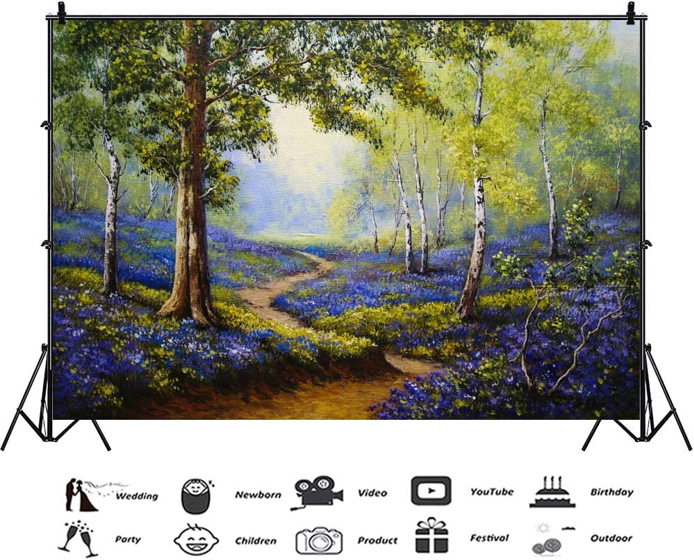 Laeacco Nature Scenery Backdrop 7x5ft Abstract Oil Painting Photography Background Forest Tree Blossom Purple Flowers Countryside Park Garden Summer Holiday Birthday Party Decor Portrait Shoot