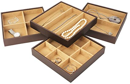 Amazoncom Mantello Luxe Stackable Jewelry Organizer Trays Drawer