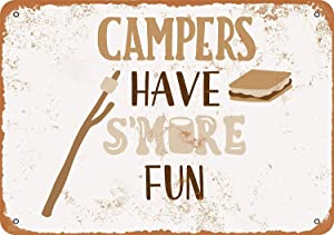 Keviewly 12 x 16 Inches Metal Sign - Vintage Look Campers Have S'More Fun - Vintage Look Tin Signs Wall Decor
