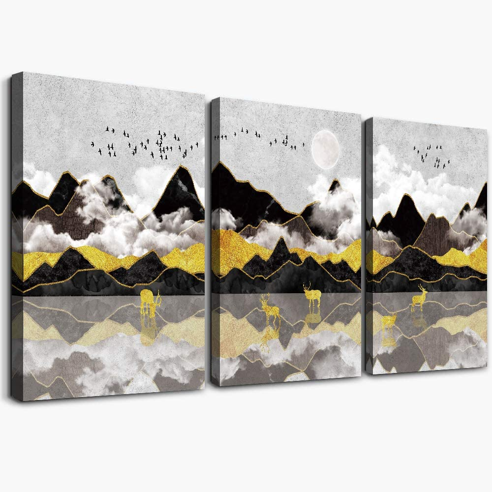 Black and white Abstract Mountain Canvas Wall Art Paintings for Living Room inspirational wall art office Wall Artworks Pictures Bedroom Decoration, 12x16 inch/piece, 3 Panels bathroom Home Wall decor