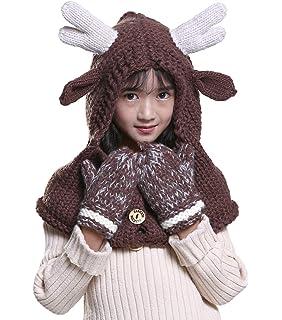 Amkun Boys Girls Crochet Cartoon Unicorn Winter Hat with Scarf Pocket  Hooded Knitting Beanie Set 03bc41c511cf