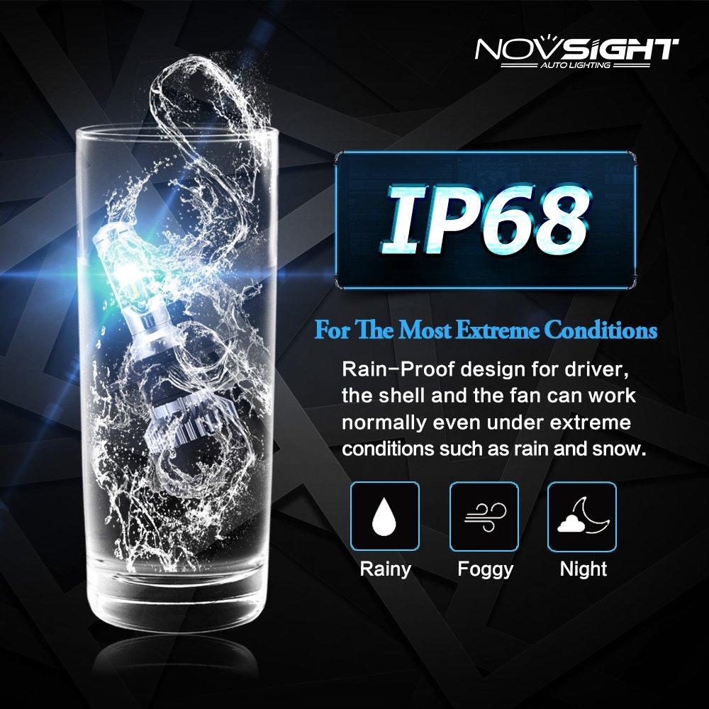 NOVSIGHT 70W 10000LM H7 LED Phare Auto Car Lampe Feux Conversion Ampoule Light 6500K 2 ans de garantie,Lot de 2