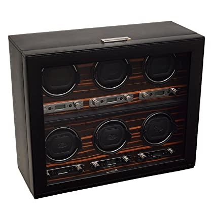 WOLF 459256 Roadster Six Piece Watch Winder with Cover, Black