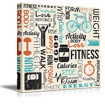 Amazon.com: Wall26 - Canvas Prints Wall Art - Fitness Design with ...