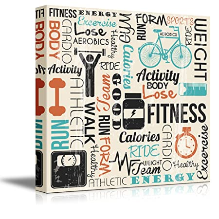 wall26 – Canvas Prints Wall Art – Fitness Design with Typography Modern Wall Decor Home Decoration Stretched Gallery Canvas Wrap Giclee Print. Ready to Hang – 16 x 16