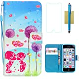 iPhone 5C Case,iPhone 5C Wallet Case,5C Case,CASELAND Flip Cover Wallet PU Leather with Stand + Lanyard Case for iPhone 5C - Dandelion