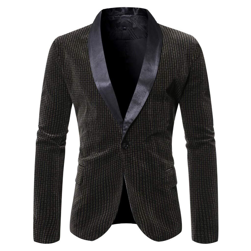 VZEXA Mens Suit Slim Patchwork One Button Blazer Business Wedding Party Outwear by VZEXA